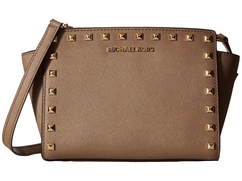 MICHAEL Michael Kors Selma Stud Medium Messenger Dark Dune Cross Body Handbags