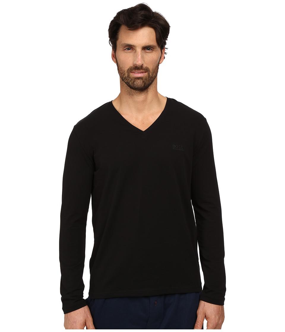 BOSS Hugo Boss Long Sleeve Mix and Match V Neck Cotton Stretch Black Mens Clothing
