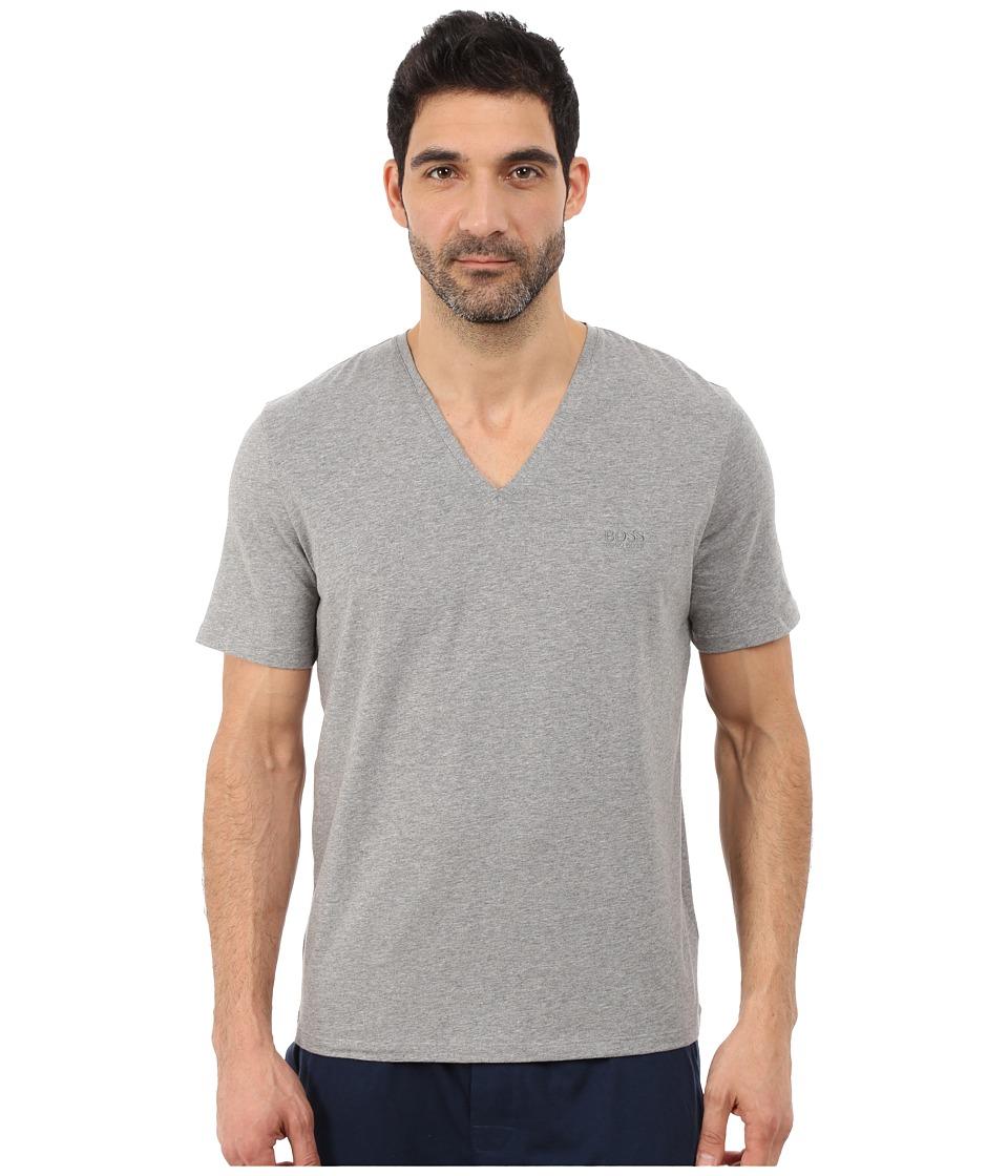 BOSS Hugo Boss Cotton Stretch V Neck Medium Grey Mens Clothing