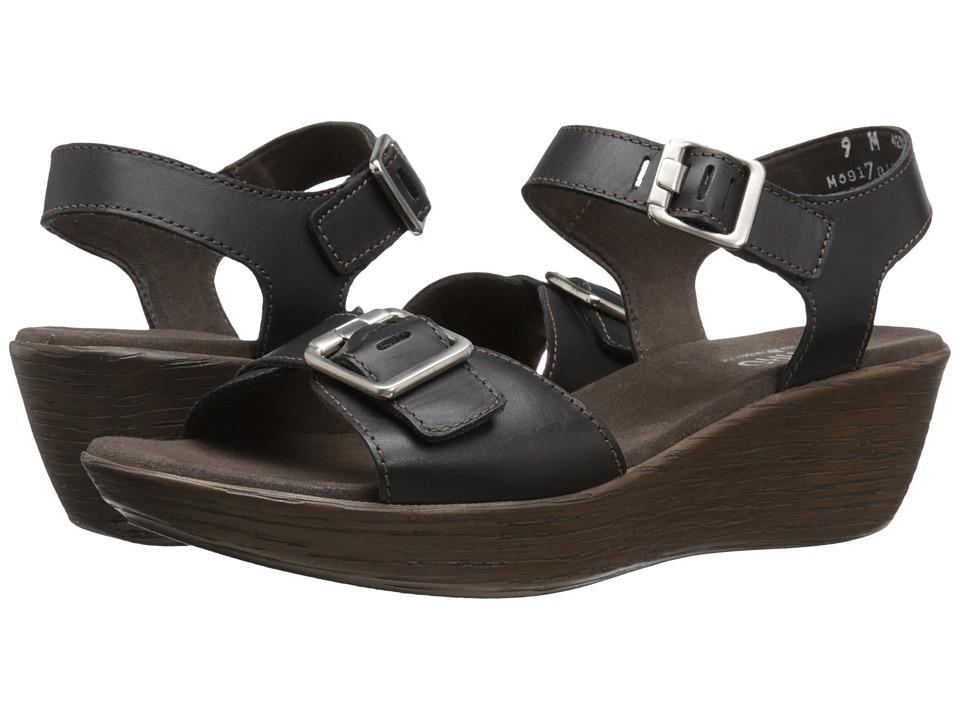 Munro American Marci Black Leather Womens Sandals