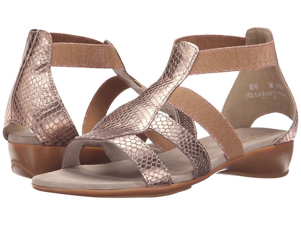 Munro American Zena Rose Gold Metallic Python Print Womens Sandals