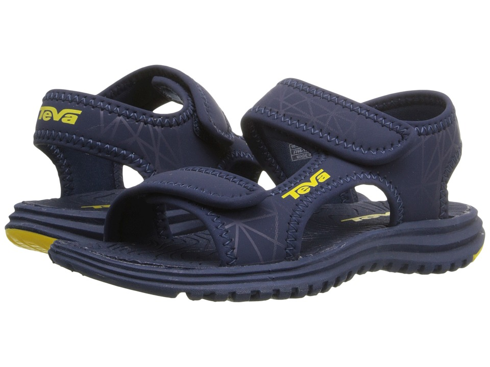 Teva Kids Tidepool Toddler Navy/Yellow Print Boys Shoes