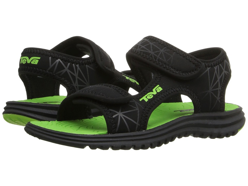 Teva Kids Tidepool Toddler Black/Lime Print Boys Shoes