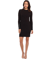 Nicole Miller - Triangle Knit w/ Leather Inserts Dress