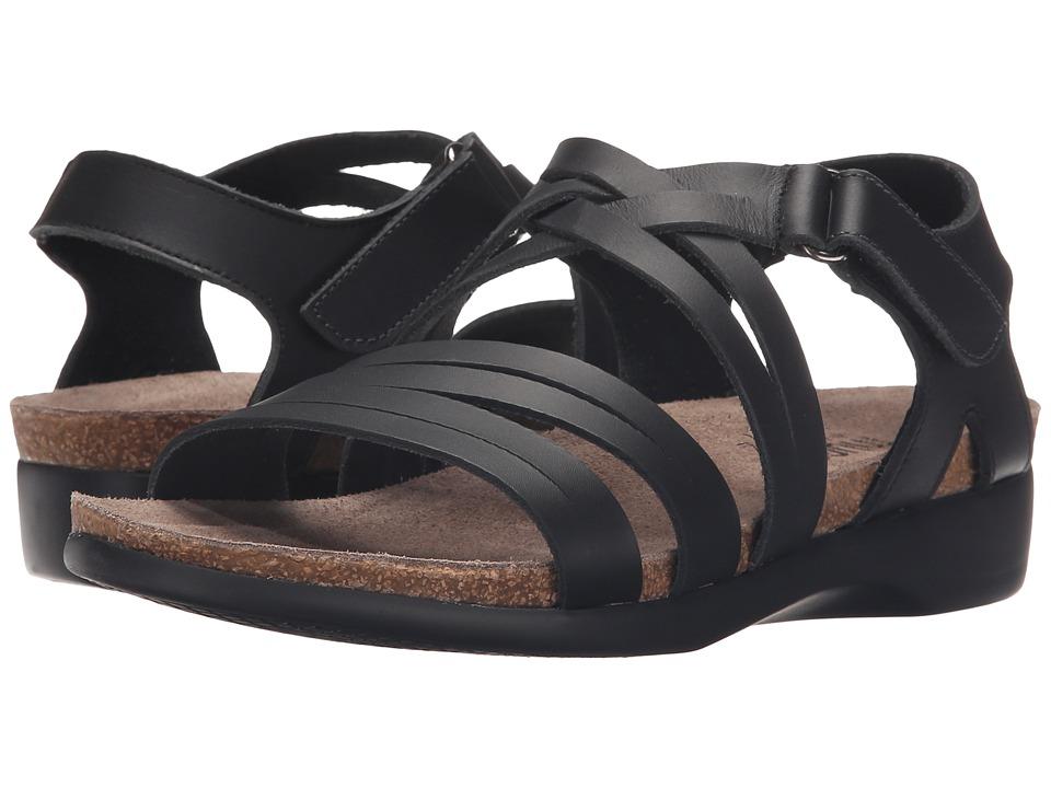 Munro American Kaya Black Leather Womens Sandals