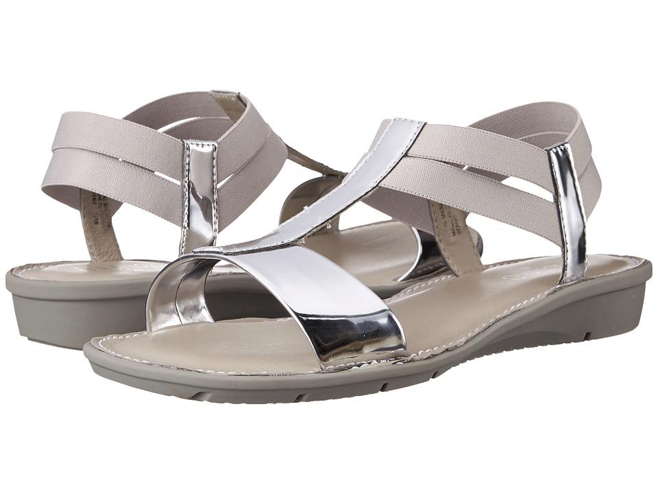 Munro American Ideal Silver Mirror/White Elastic Womens Sandals