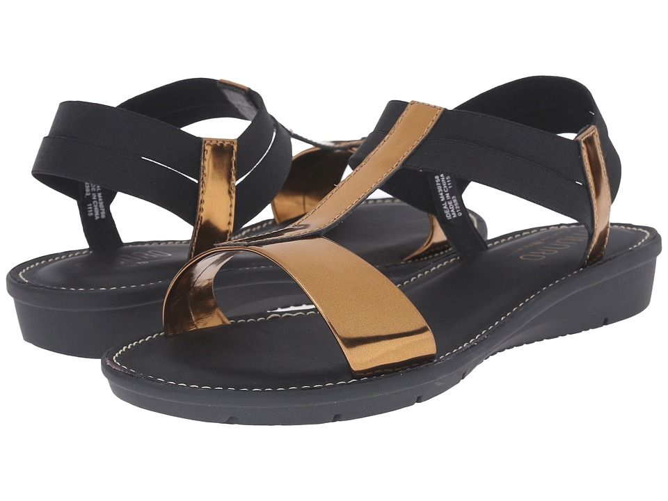 Munro American Ideal Gold Mirror/Black Elastic Womens Sandals