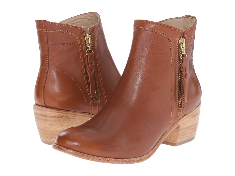 Wolverine Ella 5 Tan Leather Womens Zip Boots