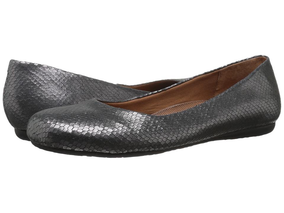 Walking Cradles Blue Pewter Metallic Snake Print Womens Flat Shoes
