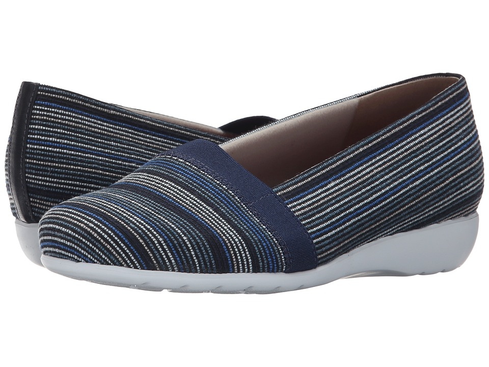 Munro American Bonita Blue Multi Fabric Womens Slip on Shoes