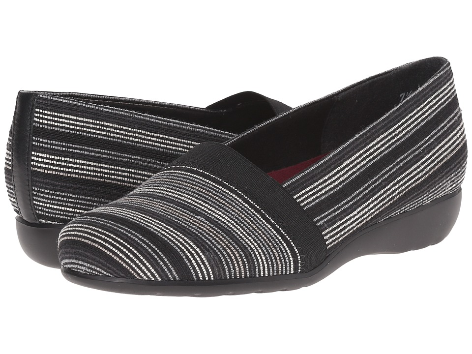 Munro American Bonita Black Multi Fabric Womens Slip on Shoes