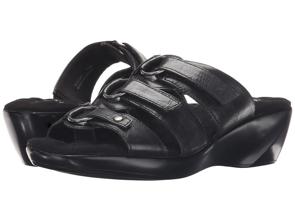 Walking Cradles Cast Black Leather Womens Sandals