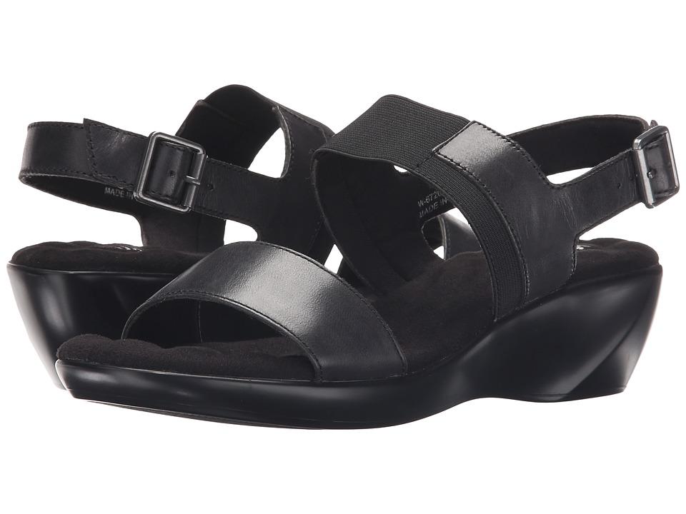 Walking Cradles Climb Black Leather Womens Sandals