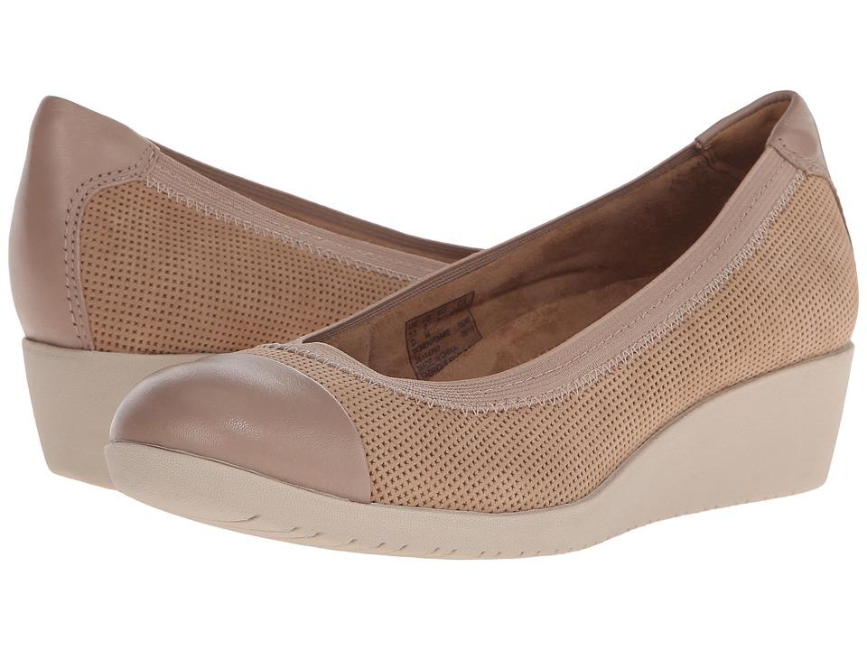 Clarks - Petula Sadie (Sand Nubuck Combi) Womens Wedge Shoes