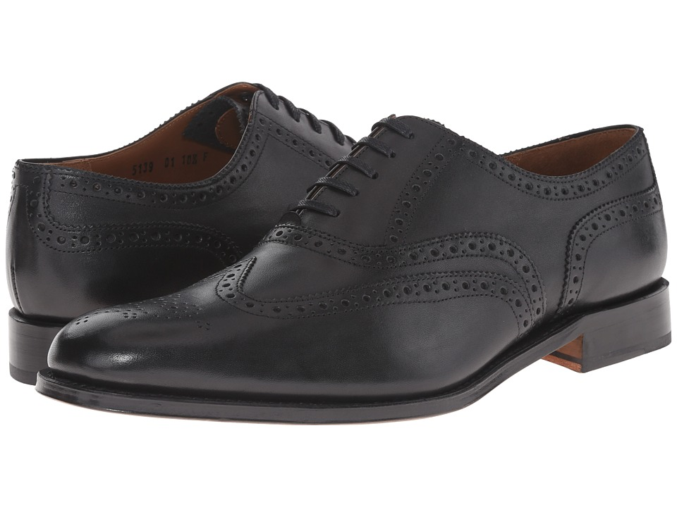 Grenson Dylan Black Calf Mens Lace Up Wing Tip Shoes
