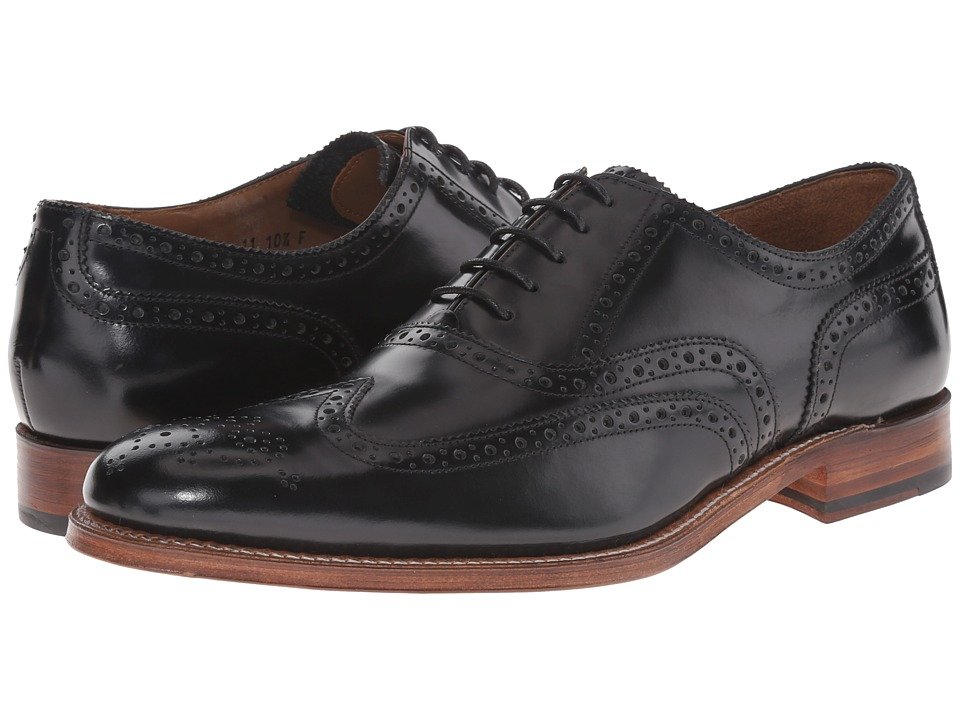 Grenson Dylan Black Rub Off Mens Lace Up Wing Tip Shoes