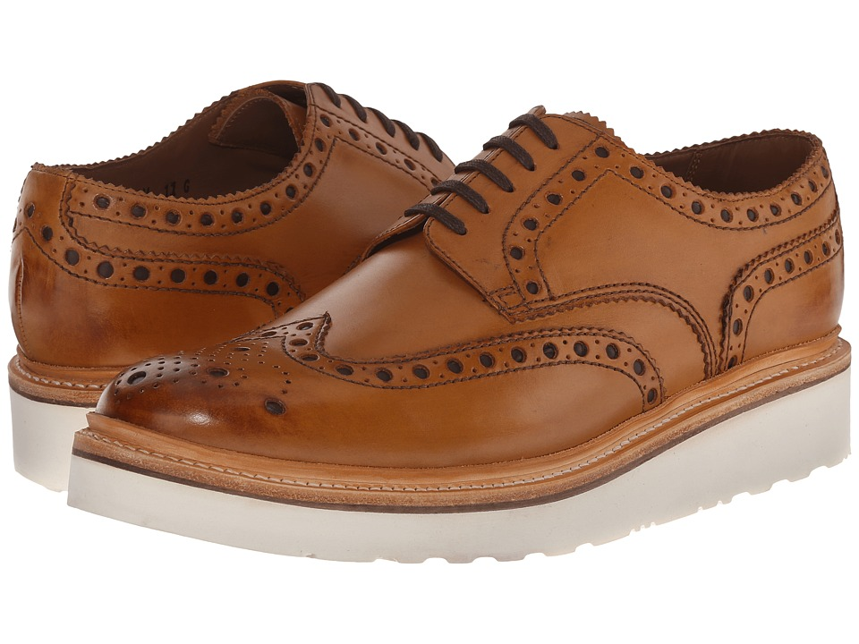 Grenson Archie V Tan Calf Mens Lace Up Wing Tip Shoes