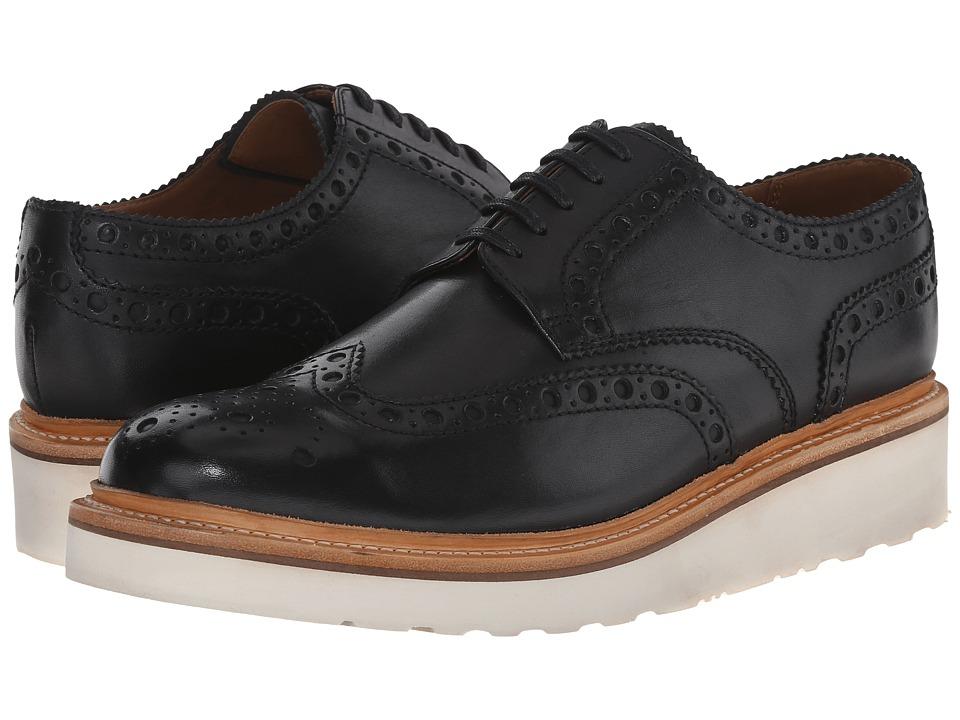 Grenson Archie V Black Calf Mens Lace Up Wing Tip Shoes