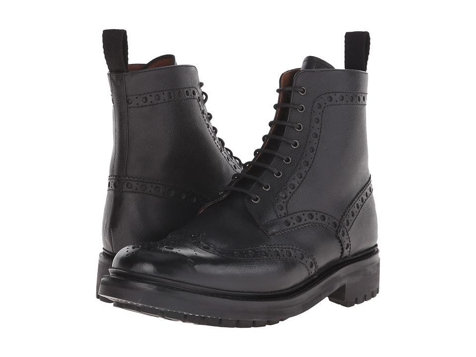 Grenson Fred Commando Black Alpine Grain Mens Lace up Boots