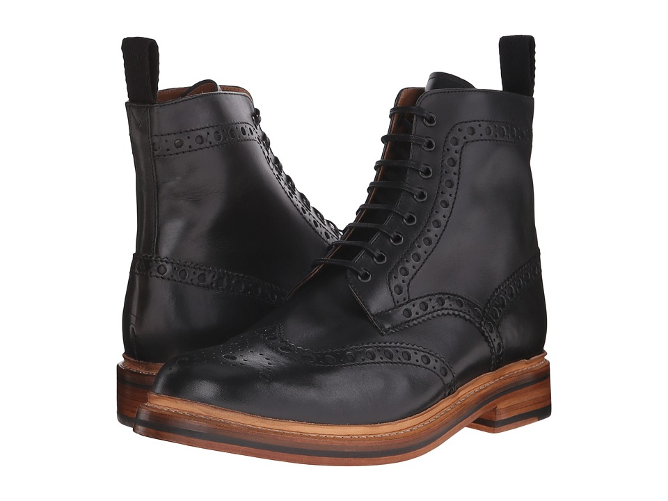 Grenson Fred Black Calf Mens Lace up Boots