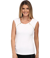 Calvin Klein - Short Sleeve Top w/ Zippper Pulls
