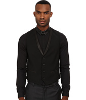 The Kooples - Mohair Suit Vest w/ Leather Lapel