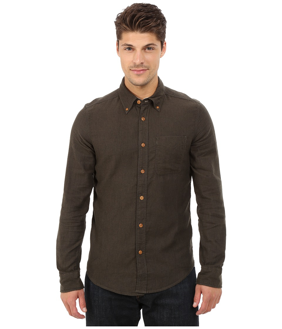 Deus Ex Machina Albie Brushed Long Sleeve Shirt Forest Mens Long Sleeve Button Up