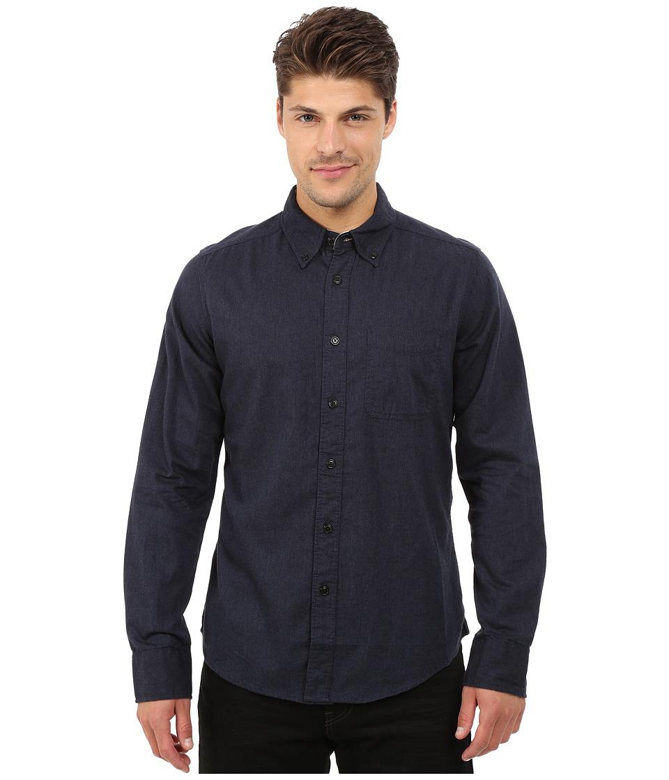 Deus Ex Machina Albie Brushed Long Sleeve Shirt Navy Mens Long Sleeve Button Up