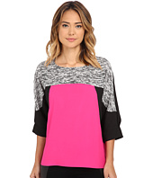 Calvin Klein - Print 3/4 Sleeve Color Block Top