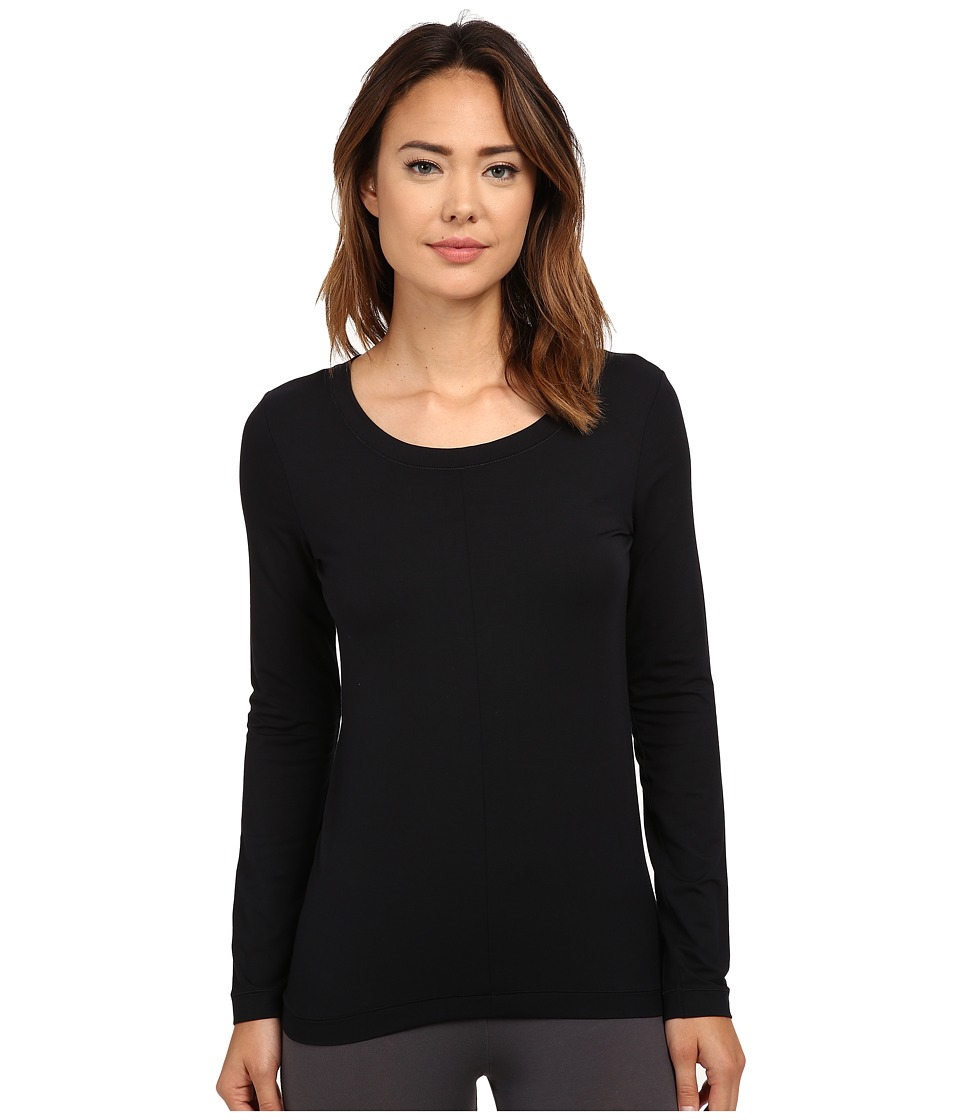 Hanro - Yoga Basics Long Sleeve Top (Black) Womens Pajama
