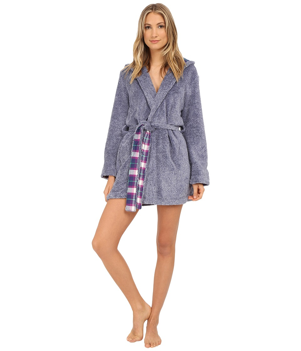 Jane amp Bleecker Two Tone Plush Flannel Robe 3541069 Patriot Blue Womens Robe