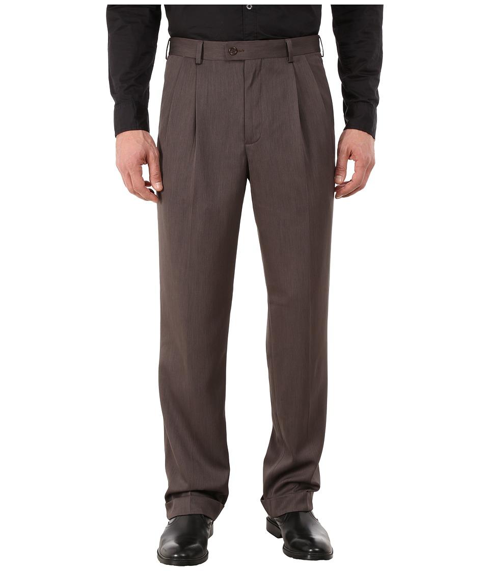Perry Ellis Portfolio Classic Fit Double Pleat Micro Melange Pant Maple Brown Mens Casual Pants