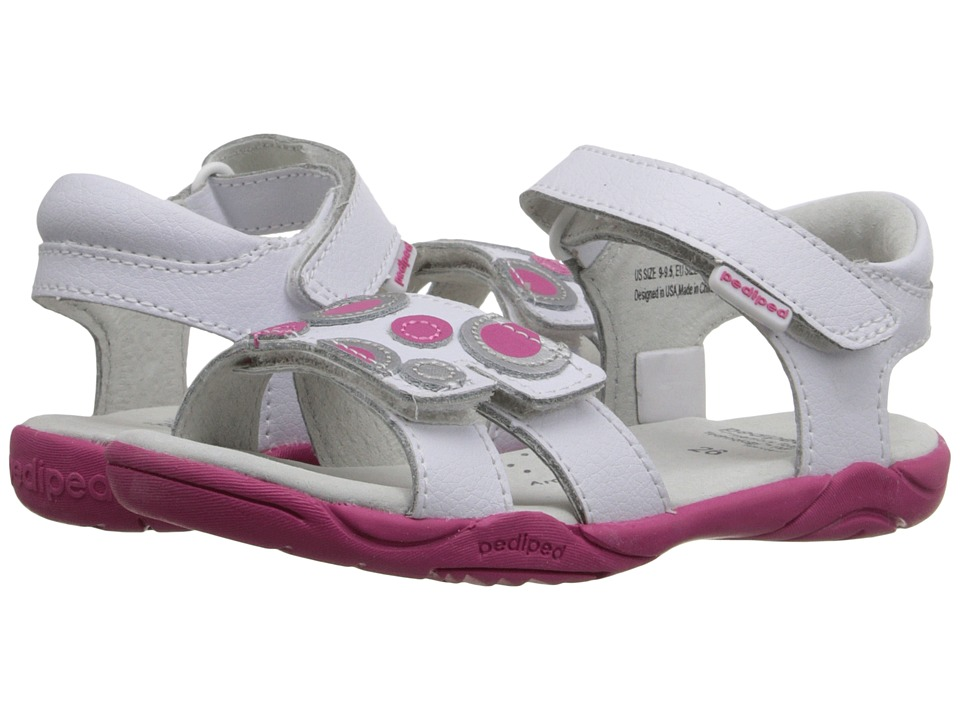 pediped Jacqueline Flex Toddler/Little Kid White/Fuchsia Girls Shoes