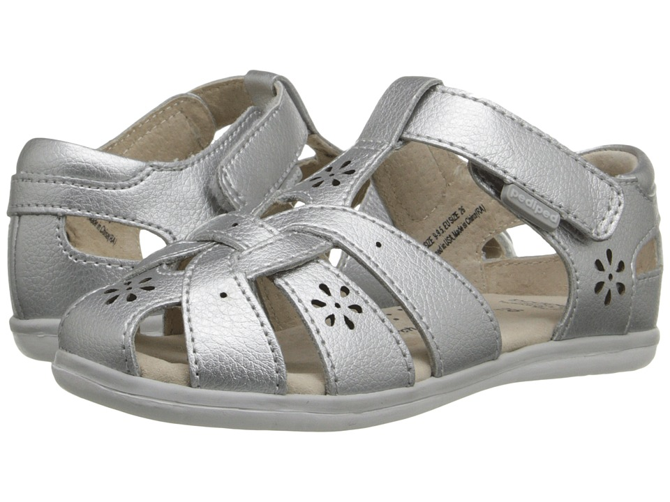 pediped Nikki Flex (Toddler/Little Kid) (Silver) Girls Shoes
