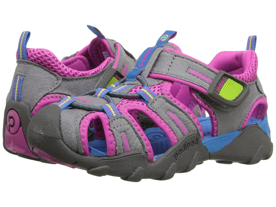 pediped Canyon Flex (Toddler/Little Kid/Big Kid) (Charcoal/Pink) Girls Shoes