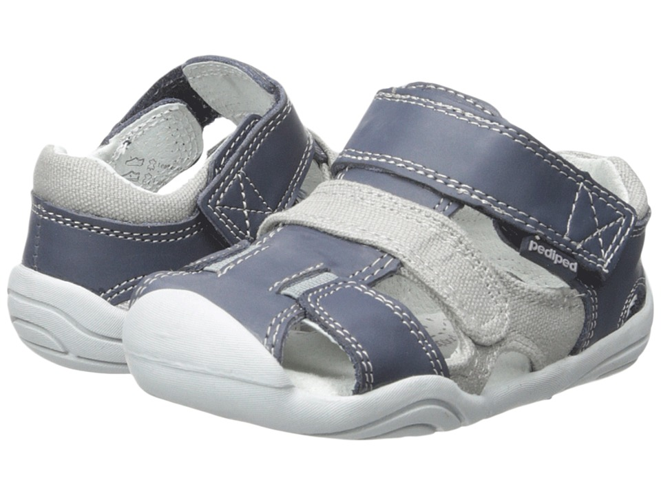 pediped - Joshua Grip n Go (Toddler) (Navy/Grey) Boys Shoes