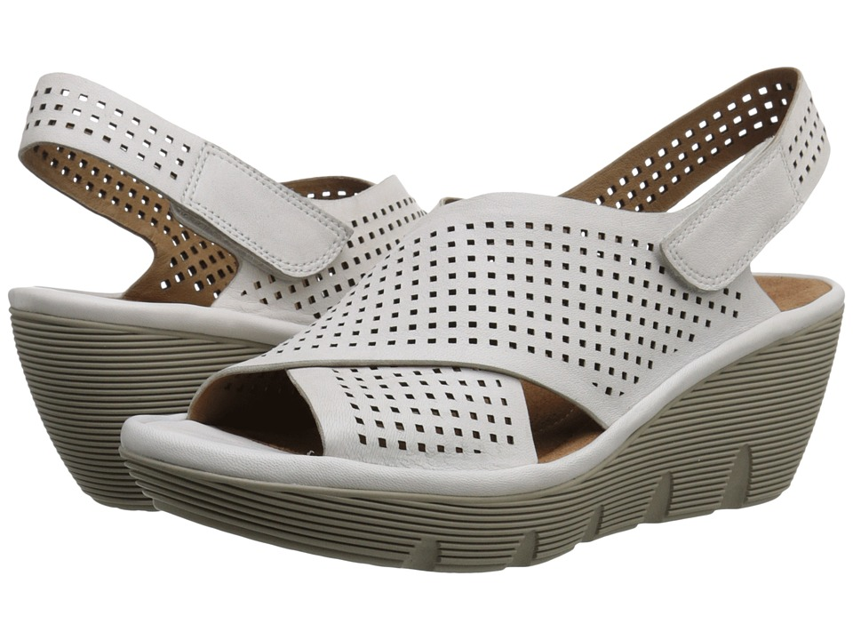 Clarks Clarene Award White Leather Womens Wedge Shoes