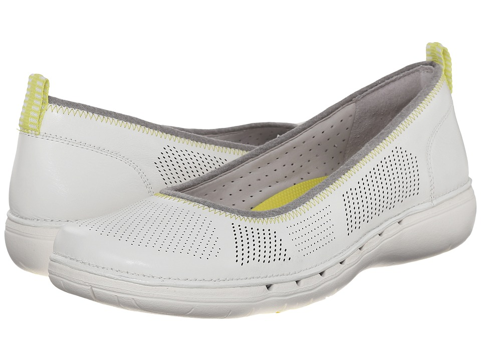 Clarks Un Elita White Leather Womens Wedge Shoes