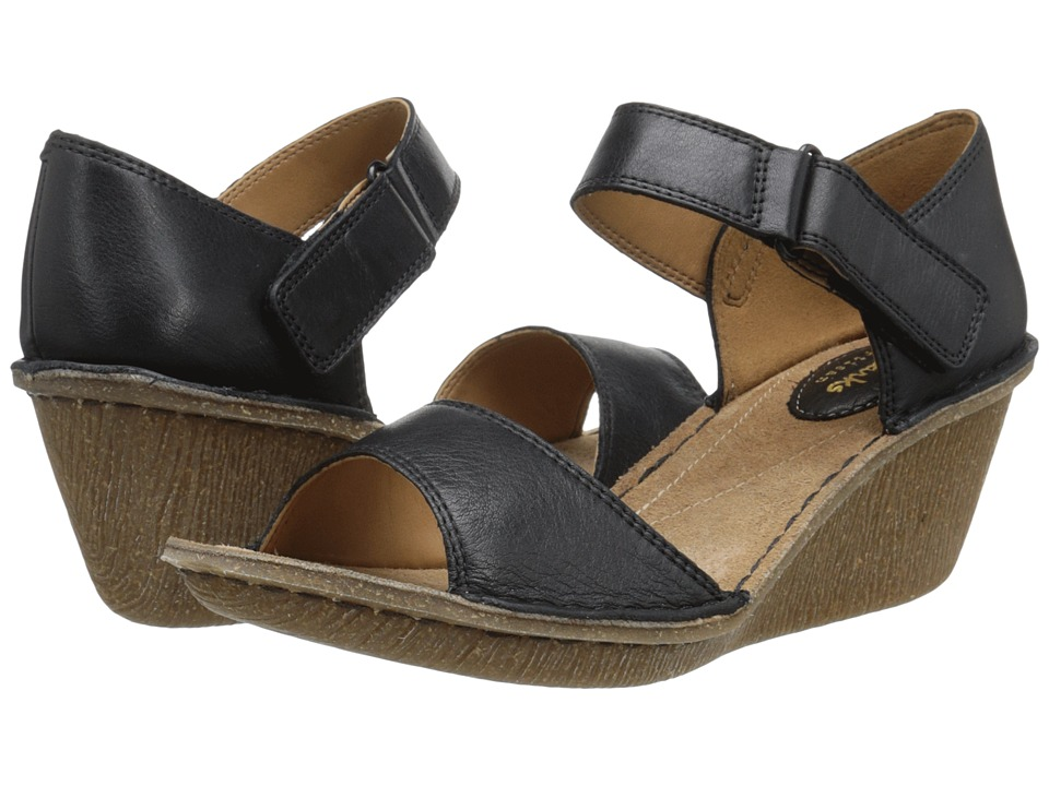 Clarks Orient Sea Black Leather Womens Wedge Shoes