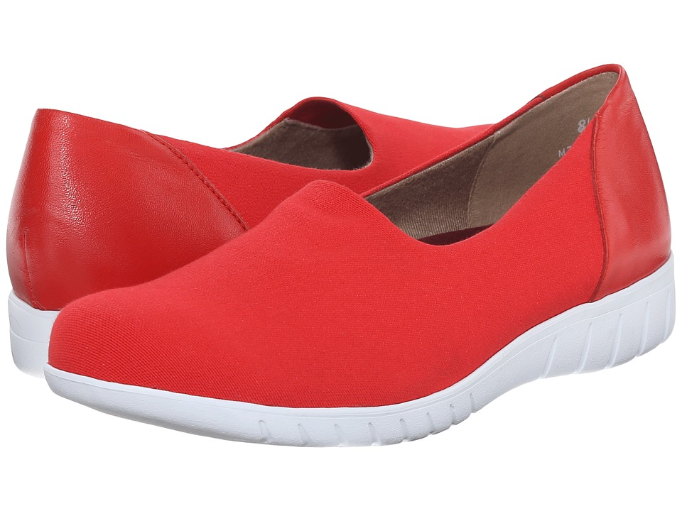 Munro American Yacht Red Coral Canvas Womens Slip on Shoes