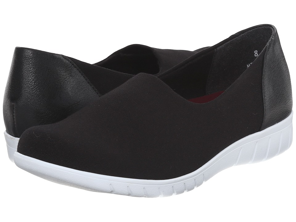 Munro American Yacht Black Stretch Canvas Womens Slip on Shoes