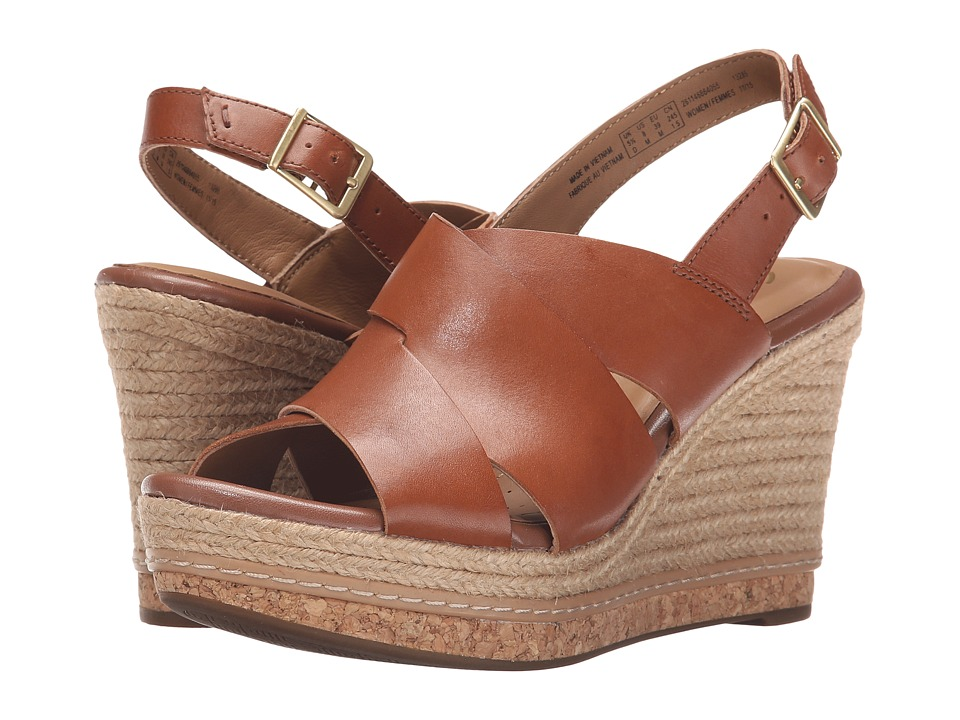 Clarks Amelia Dally Nutmeg Leather Womens Wedge Shoes