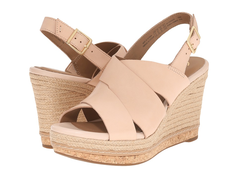 Clarks Amelia Dally Nude Leather Womens Wedge Shoes