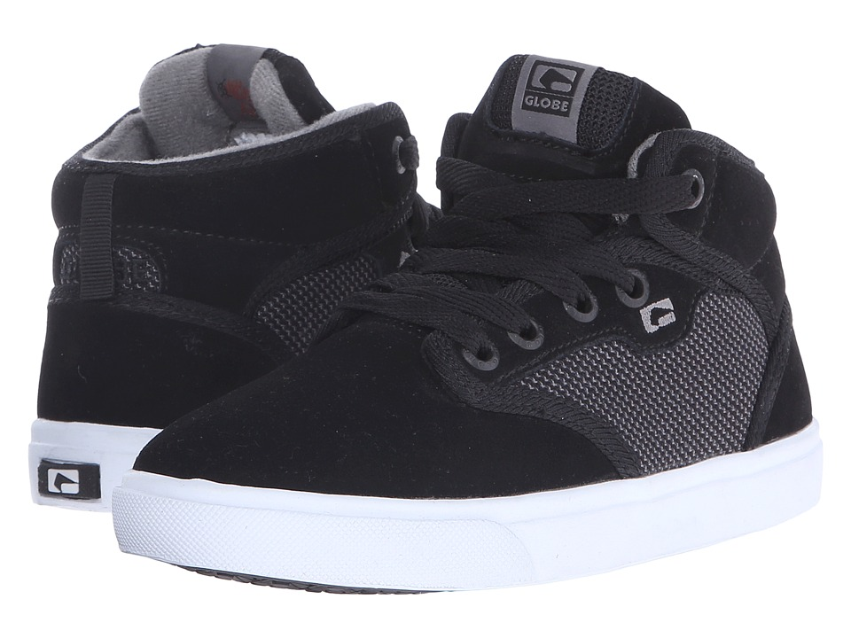 Globe - Motley Mid (Little Kid/Big Kid) (Black Suede/Woven) Mens Skate Shoes