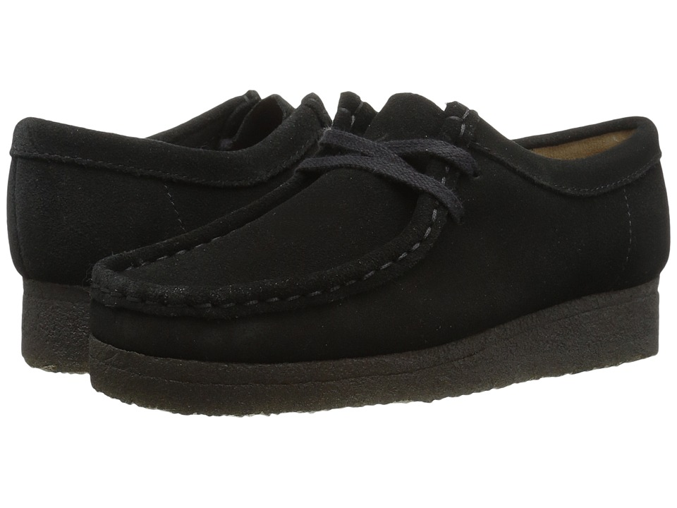 Clarks Wallabee (Black Suede/Canvas 1) Women's Lace up ca...