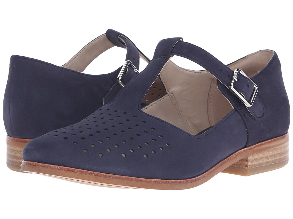 Clarks - Hotel Vibe Navy Nubuck Womens 1-2 inch heel Shoes $130.00 AT vintagedancer.com