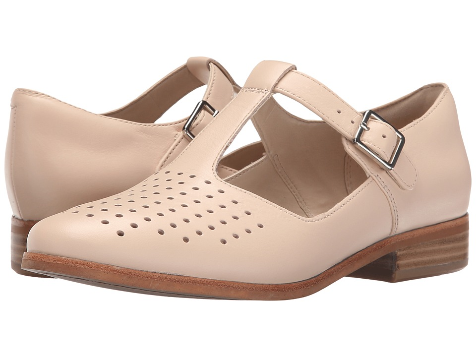 Clarks - Hotel Vibe Nude Pink Leather Womens 1-2 inch heel Shoes $117.99 AT vintagedancer.com