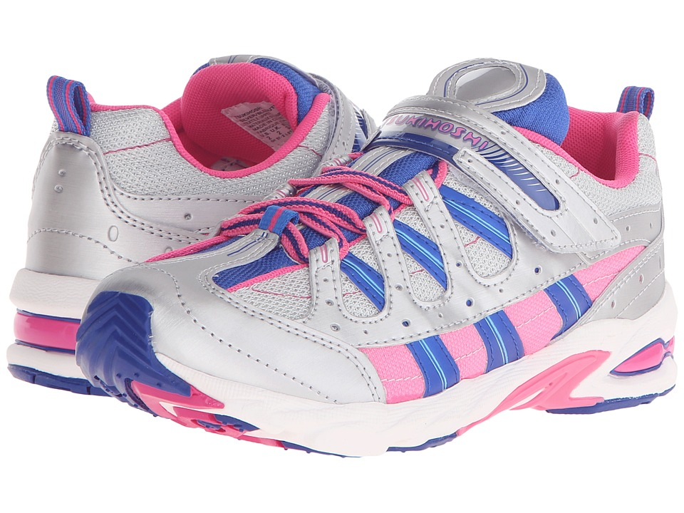 Tsukihoshi Kids - Speed (Little Kid/Big Kid) (Silver/Blue) Girls Shoes
