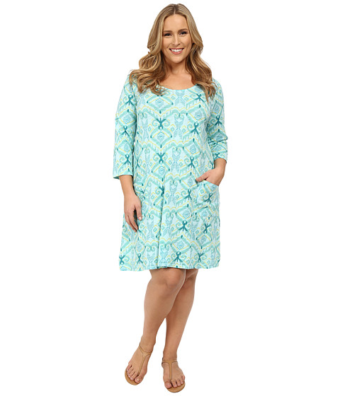 Fresh Produce - Plus Size Ikat Dalia Dress (Swimming Pool) Women's Dress
