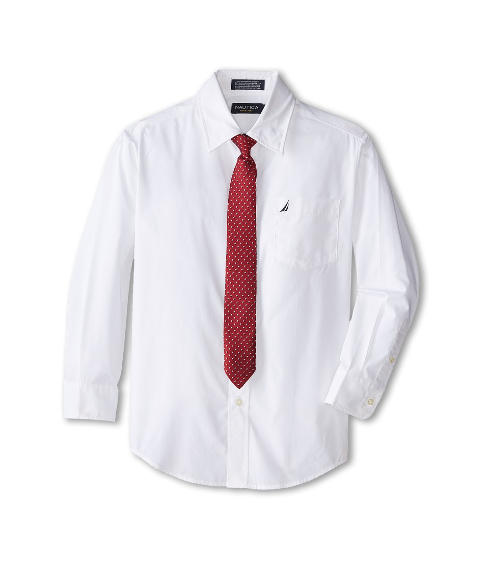 Nautica Kids Long Sleeve Poplin Shirt/Tie Set Big Kids White Girls Clothing